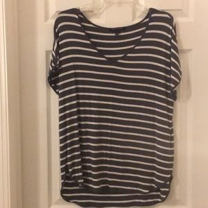 Grey and White Striped Banana Republic Vneck Tee